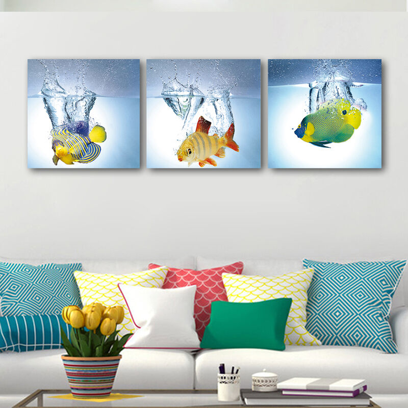 House Decoration Craft Kissing Fish Home Furnishings: Abstract Canvas Prints Home Office Decor Wall Art Painting