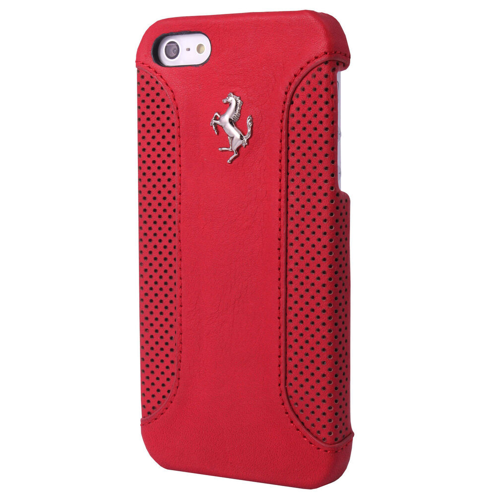 Ferrari genuine official red leather hard case iphone 5 5s fef12hcp5re ebay - Iphone 5s leather case ...