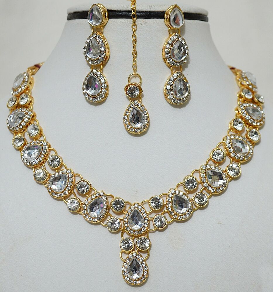 indian gold plated stones kundan necklace earring