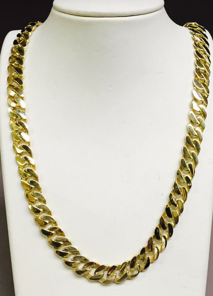 14k Solid Yellow Gold Handmade Curb Link Men S Chain