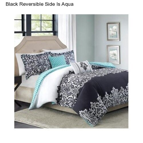 Bedroom Sets Full Size Mint Black And White Bedroom Ideas Lighting For Small Bedroom Bedroom With Black Accent Wall: Black Aqua Reversible 5 Piece Full Queen Size Comforter