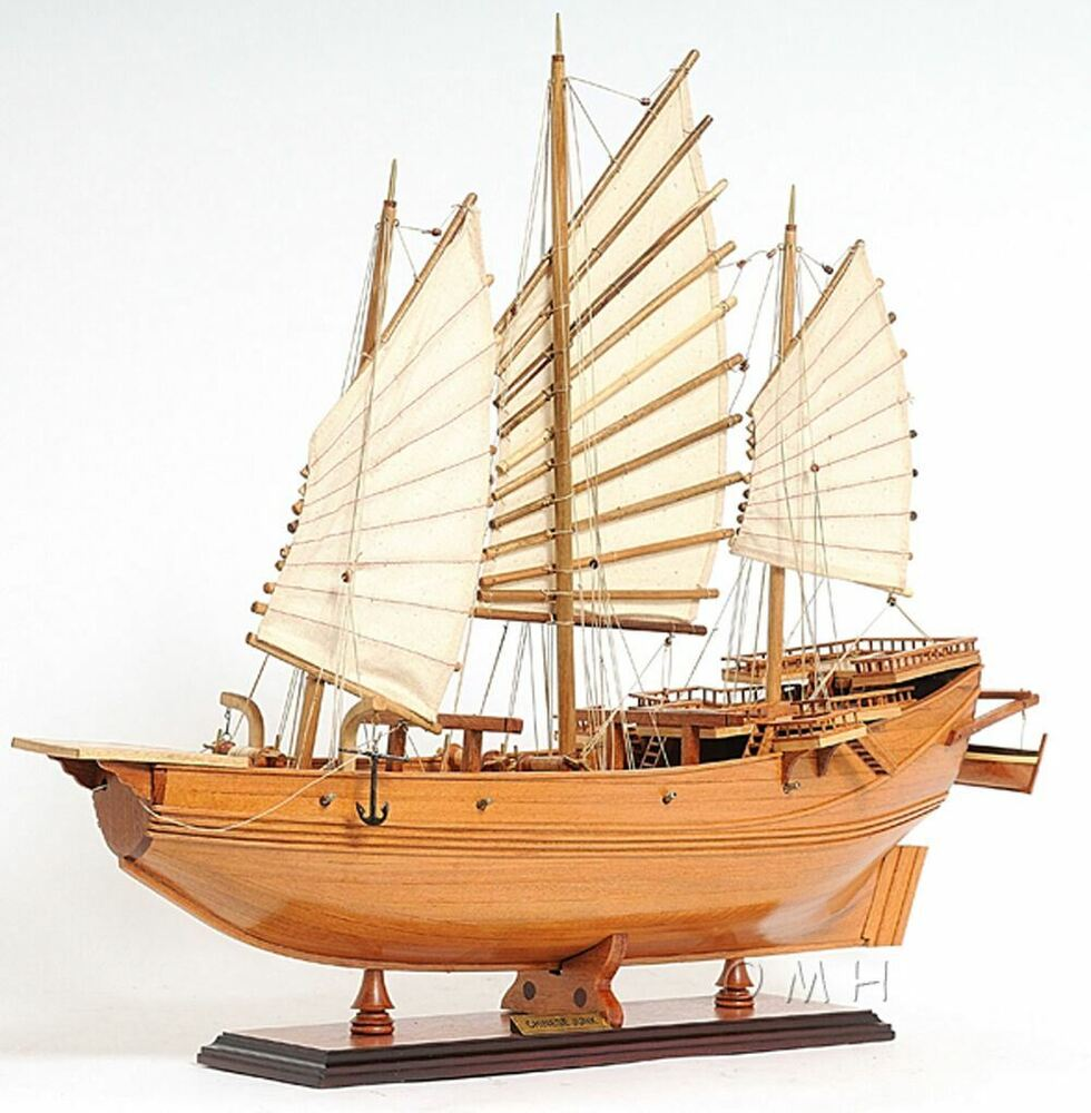 "Chinese Junk Pirate Boat 27"" Built Wooden Model Ship Assembled 