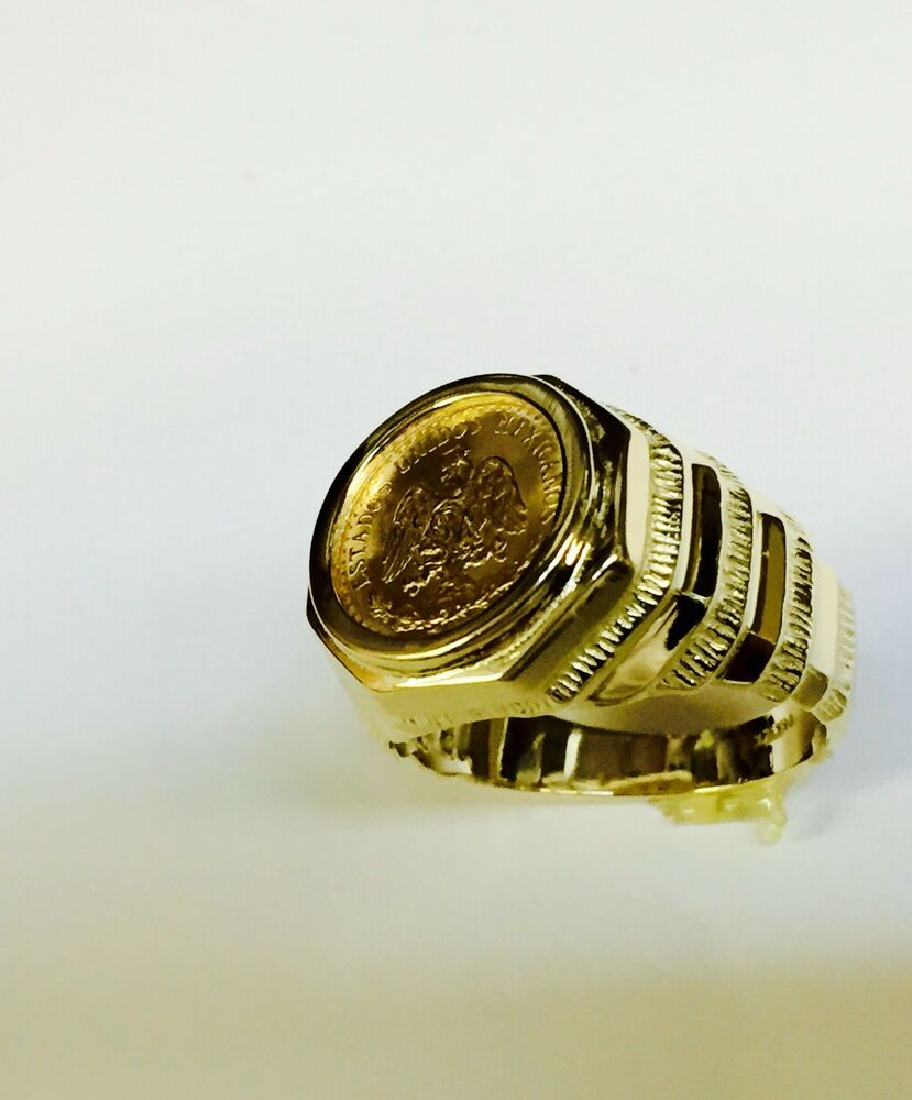 14k Gold Mens 17mm Coin Ring With A 22k Mexican Dos Pesos