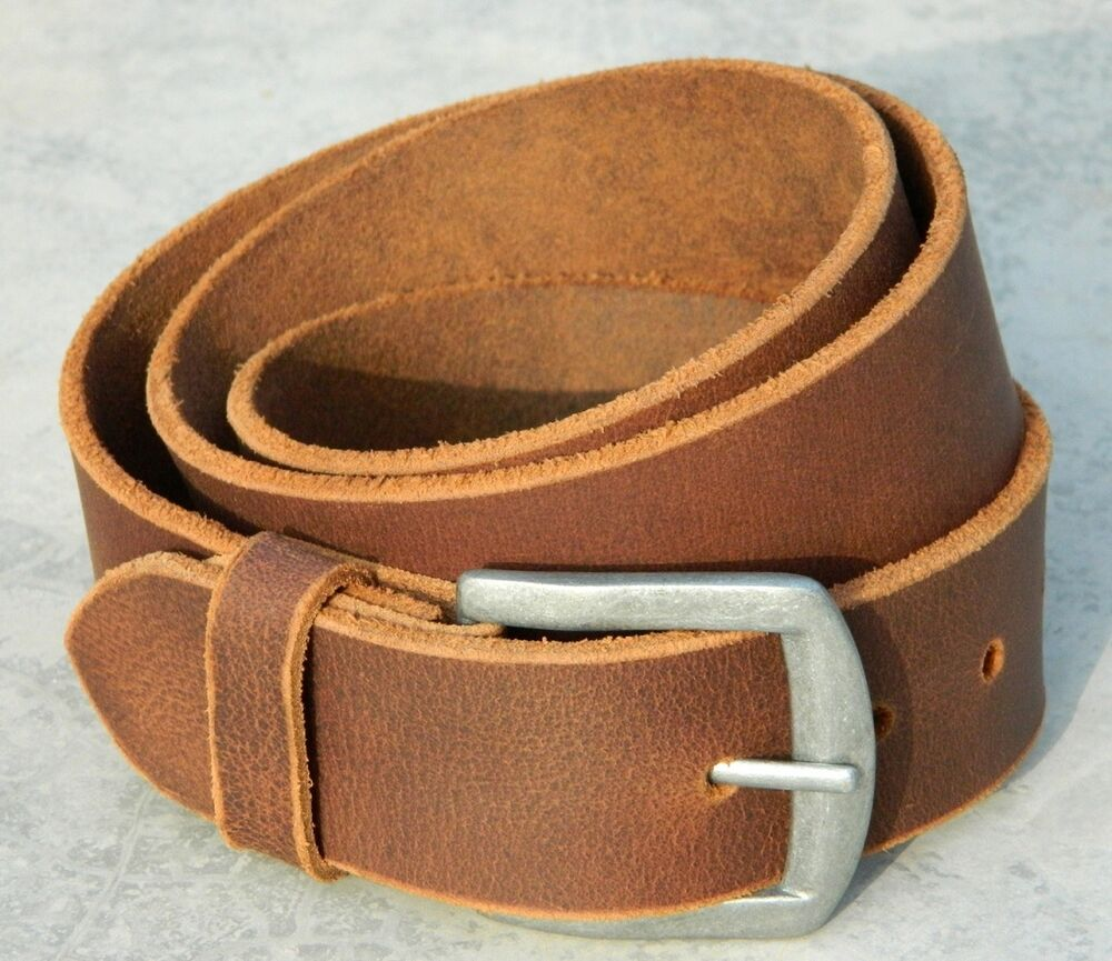 Men Real Leather Belt Wide Strap For Jeans Rustic Full