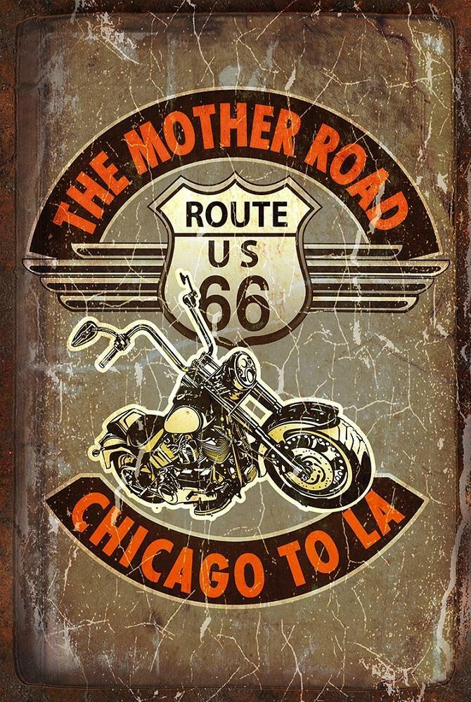 Vintage look motorcycle route us 66 highway wall decor for Decoration 66