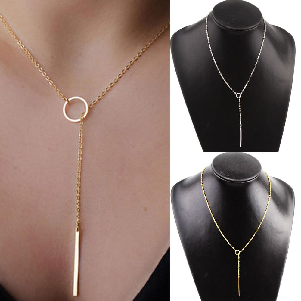 Style 123020 Diamontrigue Jewelry: Fashion Chic Y Shaped Gold Plated Bar Circle Lariat Style