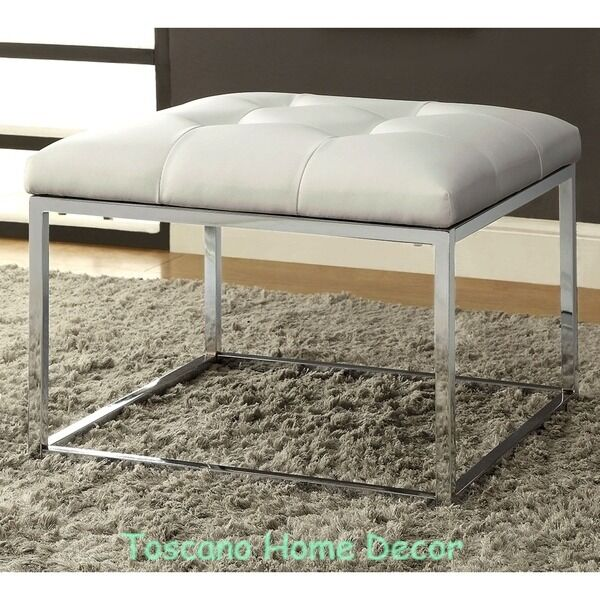 White Leather Ottoman Modern Accent Tufted Bench