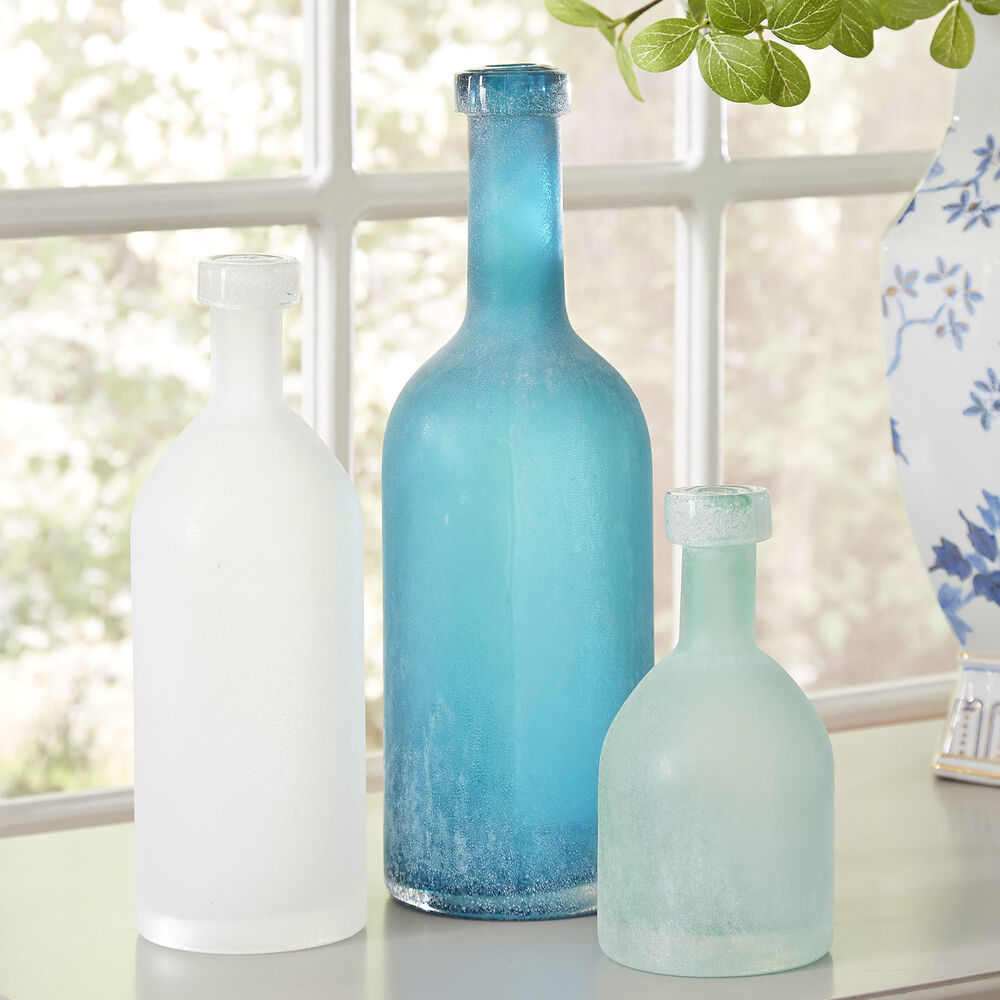 3x vintage frosted glass decorative bottle set ocean blue for Decorative vials