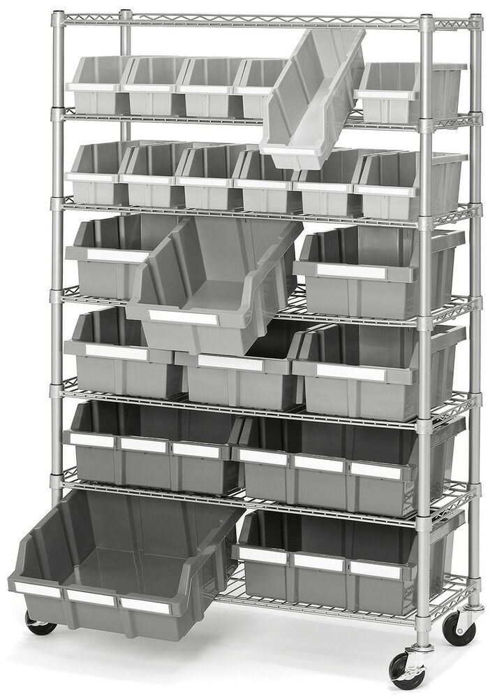 Commercial Garage Rolling 22 Bin Storage Rack Steel Frame Shelving Unit 4  Wheels | EBay