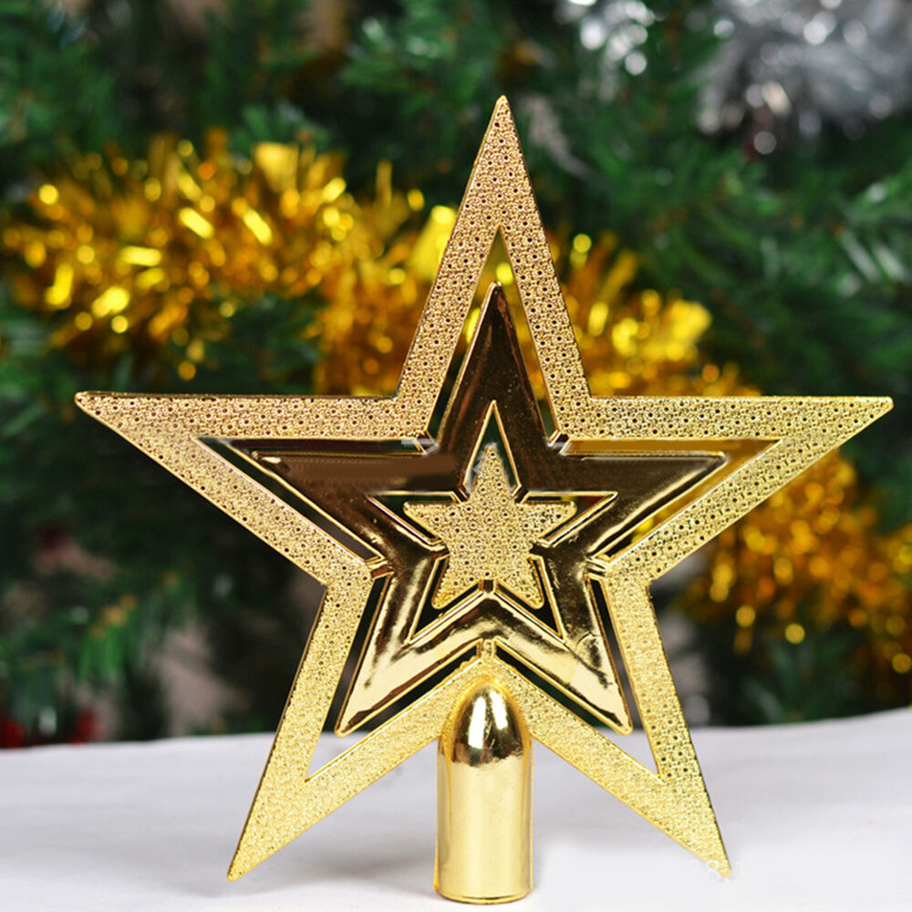 Decorative gold christmas tree topper star for