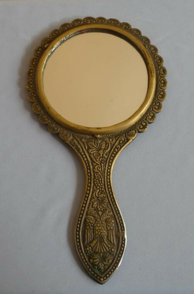 ANTIQUE BRASS ORNATE HAND MIRROR DOUBLE HEADED EAGLE | eBay