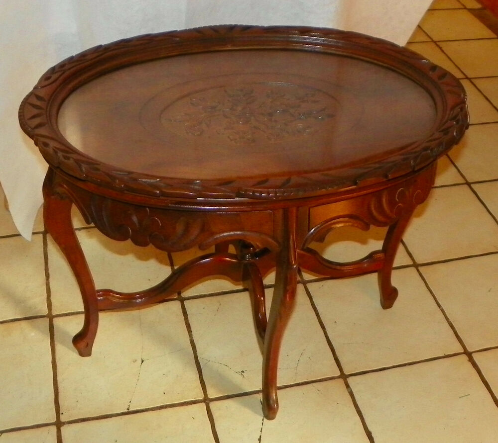 Walnut Flower Carved Coffee Table With Serving Tray (RP