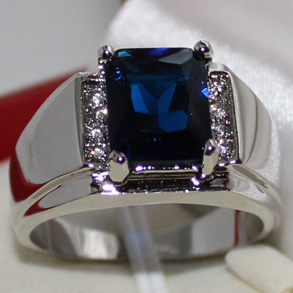 Mens Oblong Blue Sapphire With Cz Stone Eternity Stainless