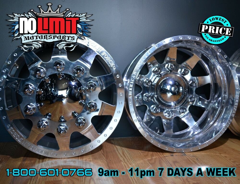 "American Force Independence 22.5""x8.25"" Dually Truck Wheels Ford Chevy Dodge 