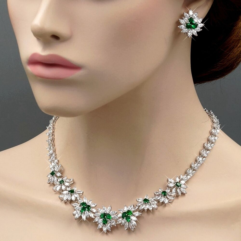 Wedding Earrings White Gold: White Gold GP Emerald Cubic Zirconia CZ Wedding Necklace