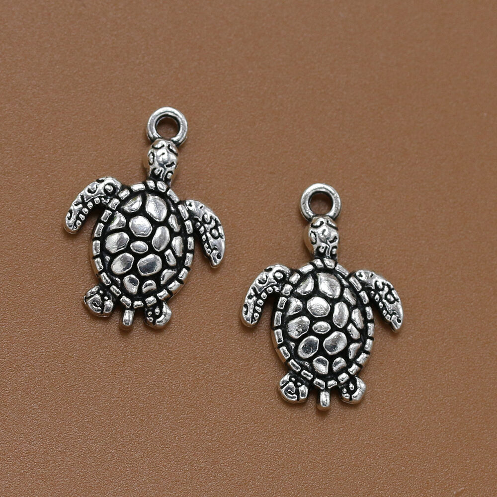 Silver Bracelets With Charms: 20/90x Vintage Lucky Tibet Silver Little Sea Turtle Charm