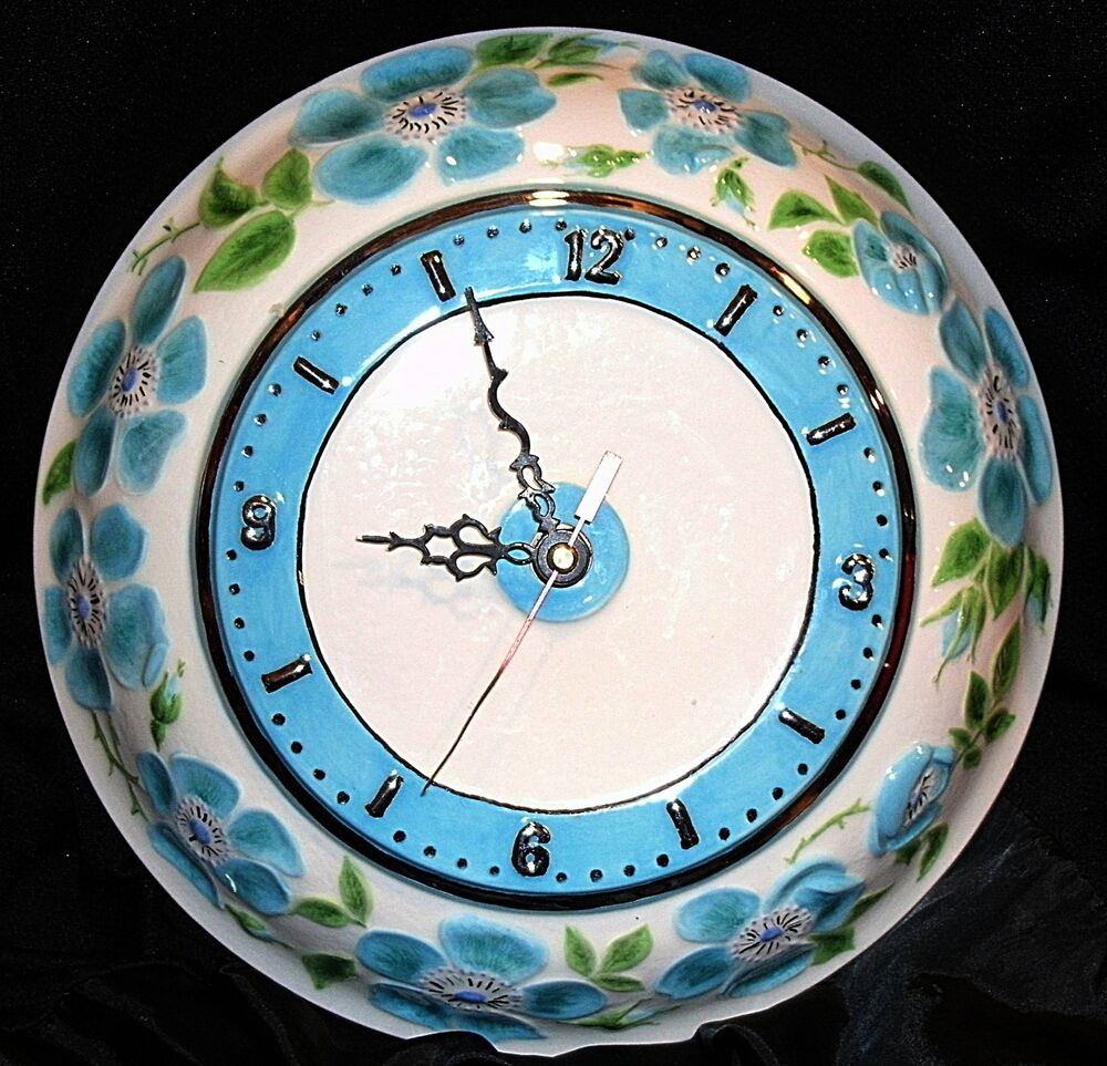Vintage kienzle movement blue and green silver ceramic for Kienzle wall clock made in germany