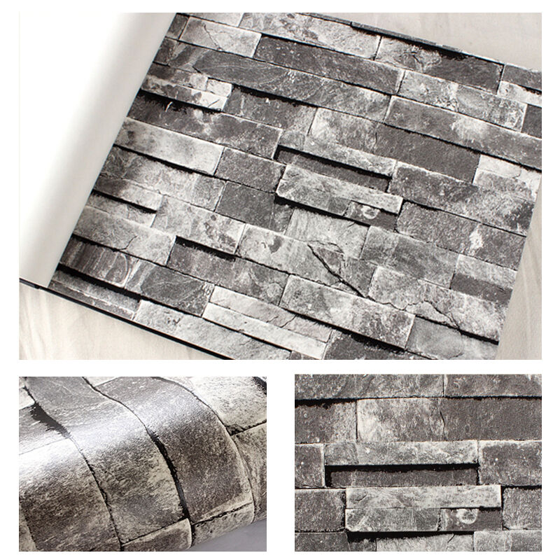 10M Textured 3D Grey Slate Brick Stone Effect Patterned