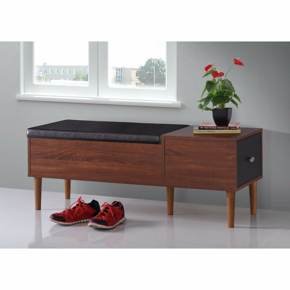 Shoe Storage Bench Modern Leather Rack Organizer Furniture Entryway Brown Accent Ebay