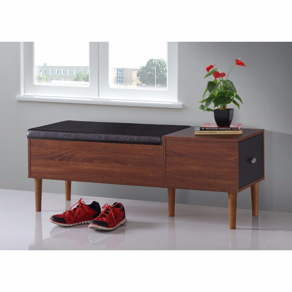 Shoe storage bench modern leather rack organizer furniture entryway brown accent ebay Shoe cabinet bench