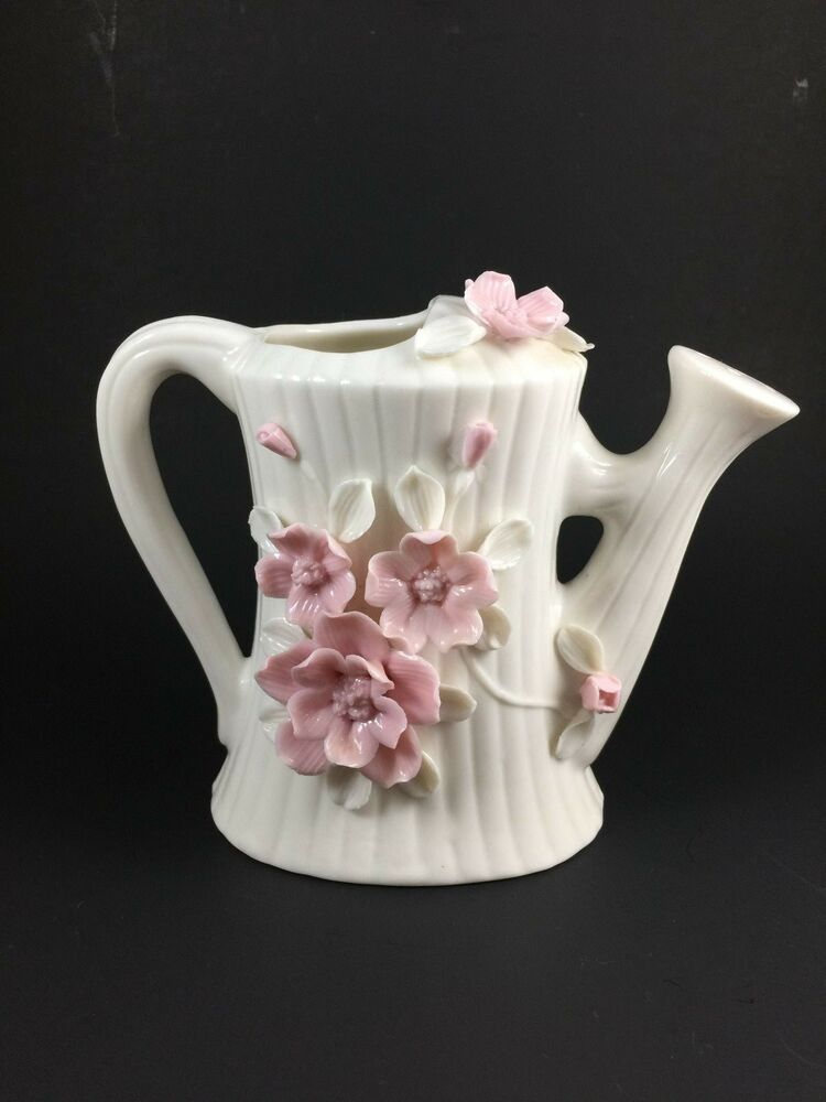 Vintage Porcelain Watering Can White 3 D Pink Flowers