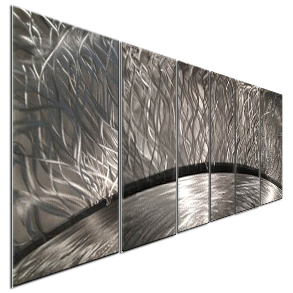 Abstract Metal Wall Art Sculpture Silver Sun Rays Home