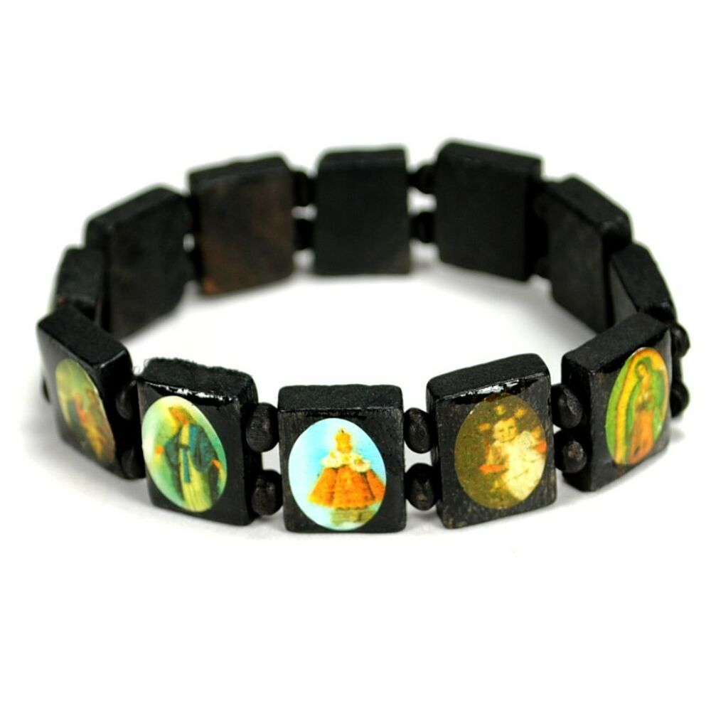 catholic saints bracelet bead bracelet black wood stretch religious catholic 6802