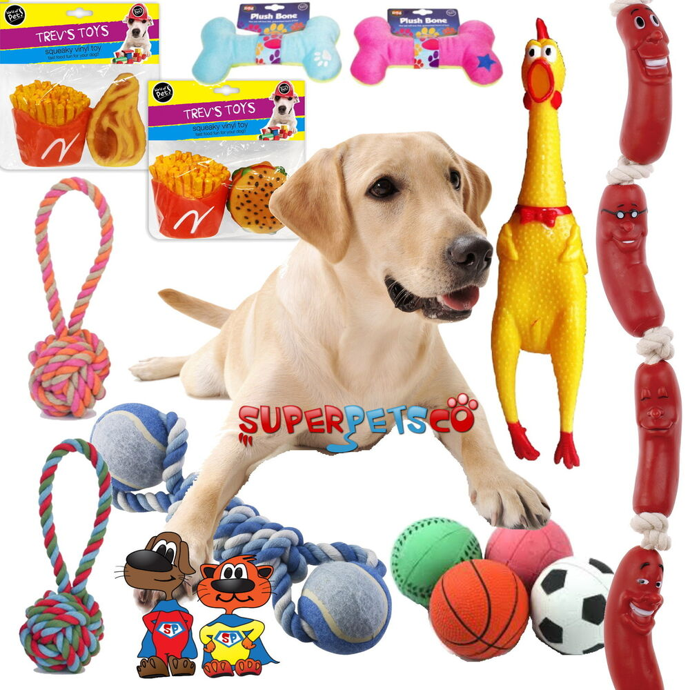 10 x Assorted Pet Dog Toys Squeaky Chew Rope Ball Rubber