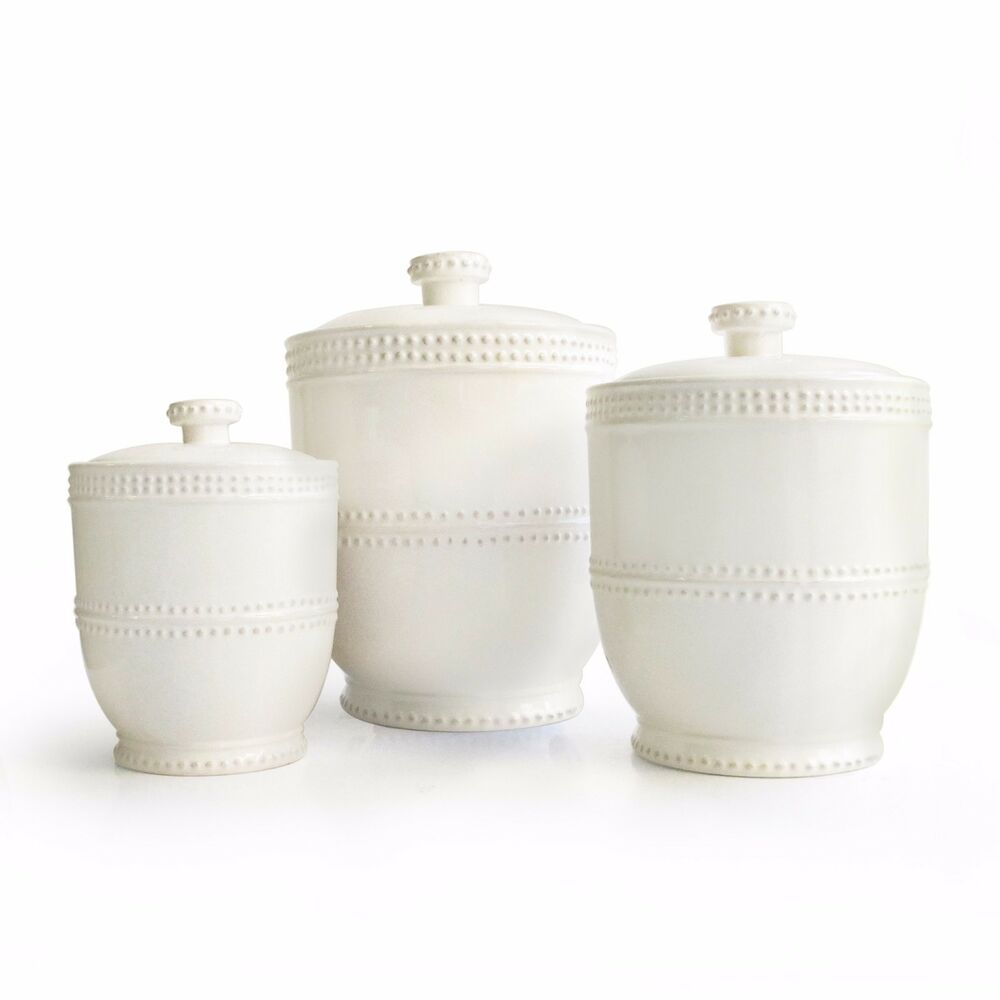White Ceramic Kitchen Canisters Set