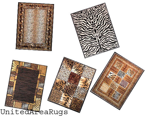 5x7 Area Rug Mix Wild Animal Skin Design Tiger Leopard