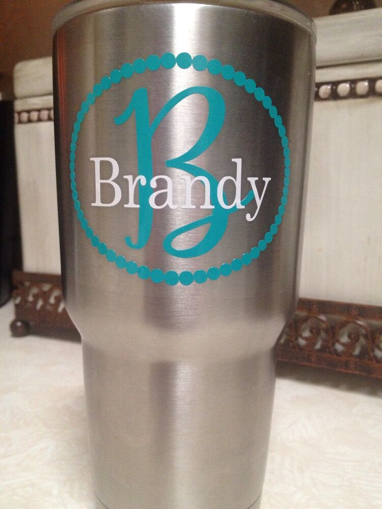 Custom Name W Initial Decal Pearl Border 2 Colors For Your