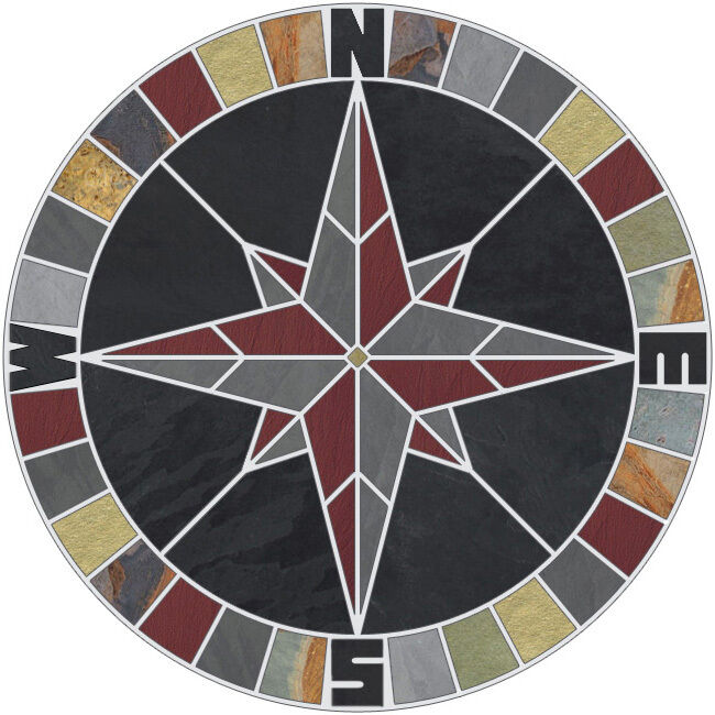 48 Quot Tile Mosaic Medallion Natural Stone Mariners Compass