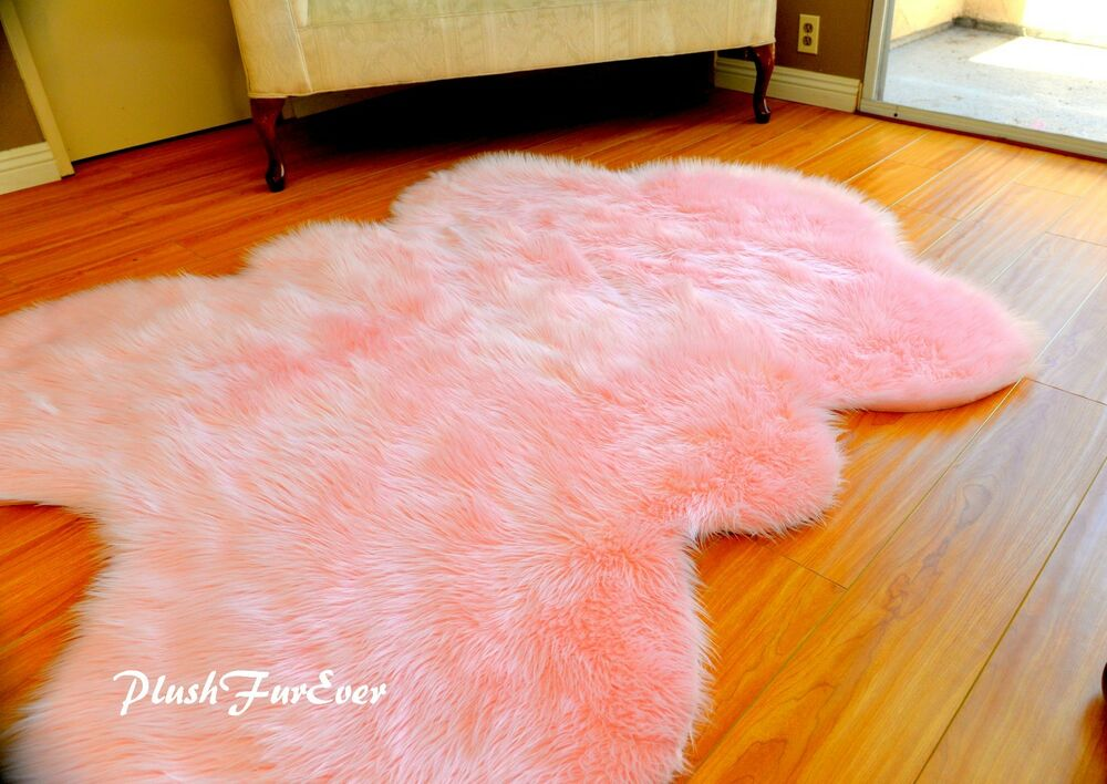 baby pink nursery room girl bedroom decor faux fur sheepskin shaggy modern plush ebay. Black Bedroom Furniture Sets. Home Design Ideas