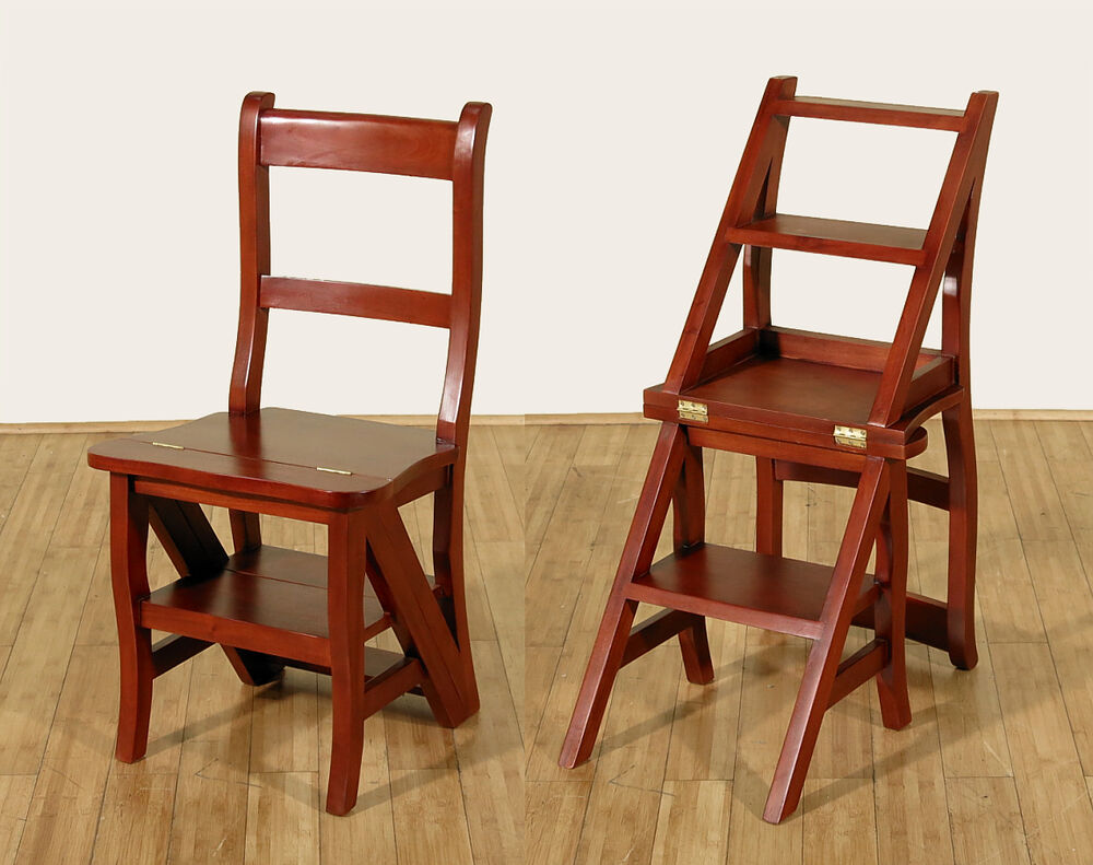 Cherry Convertible Ladder Chair Office Library Step Stool