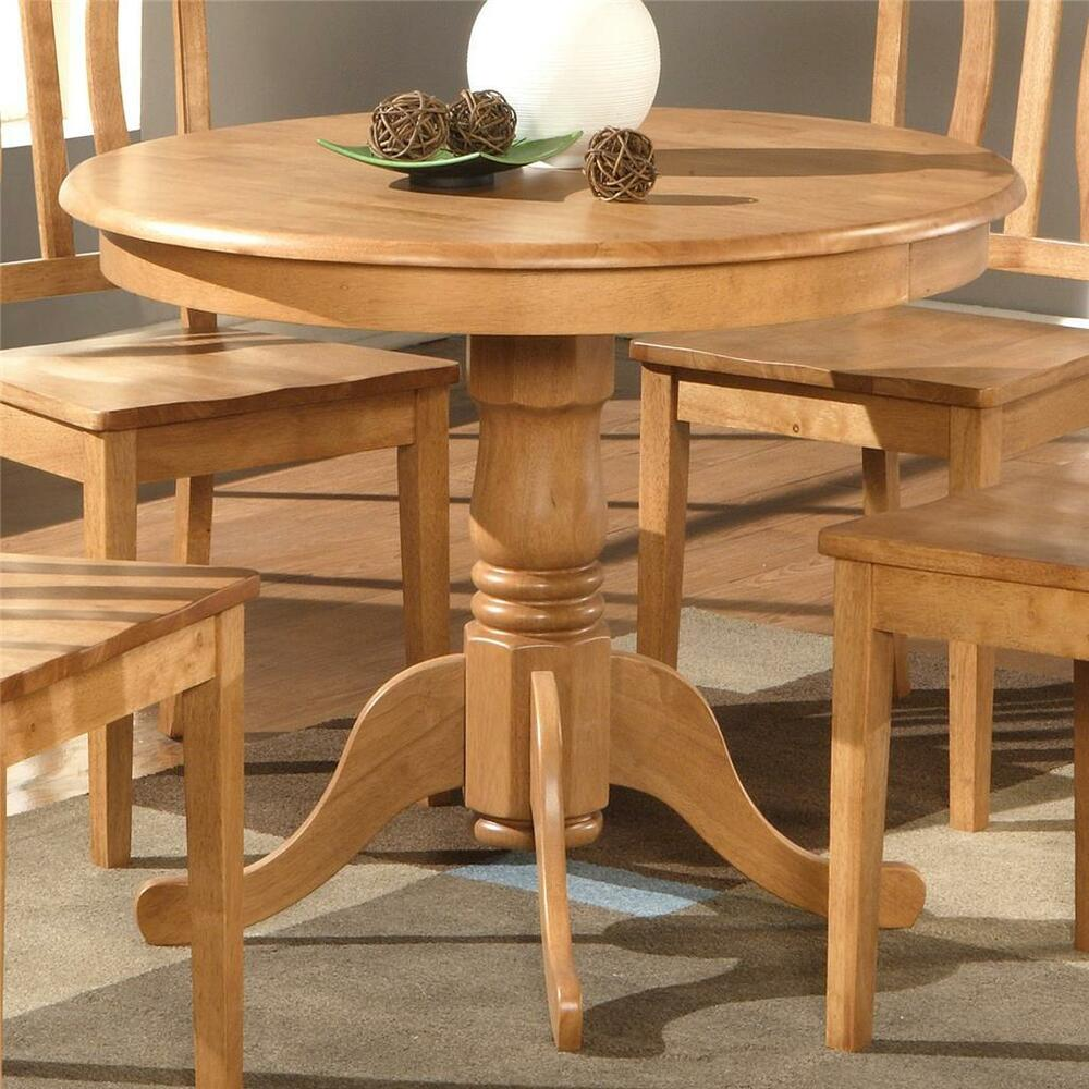 Light oak 36 pedestal small dining table kitchen Breakfast nook table