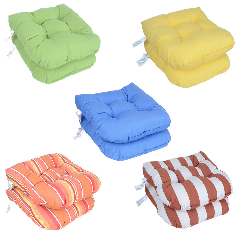 Sunbrella outdoor chair cushion patio wicker seat cushion furniture pad set of 2 ebay - Seat cushions for patio furniture ...