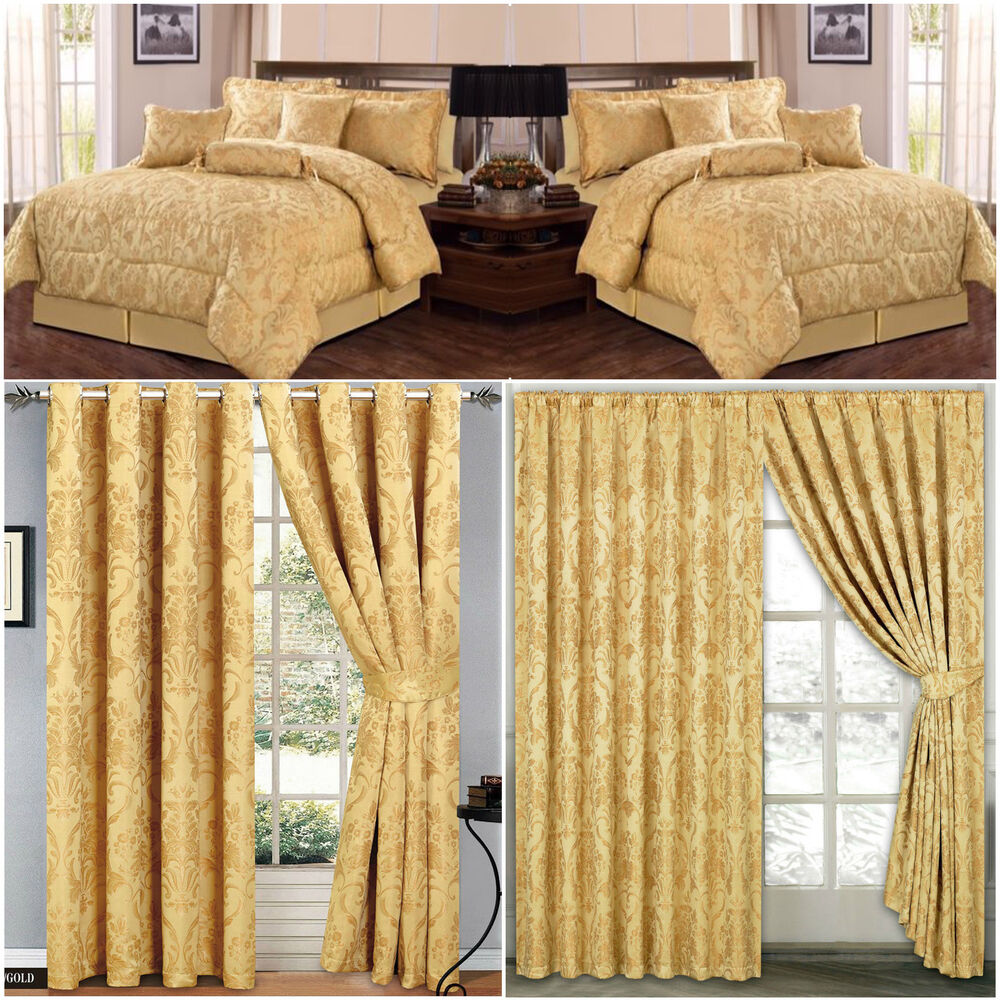 Jacquard Luxury 7 Piece Gold Comforter Set Bedspread With Matching Curtains Ebay