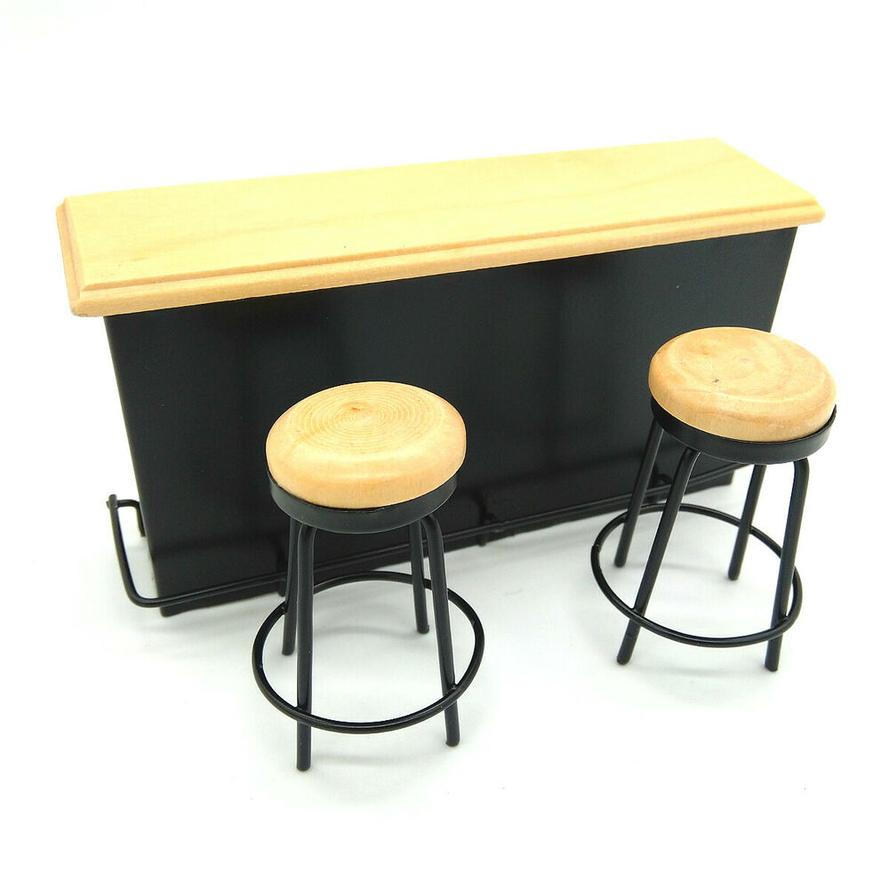 Dollhouse Miniature Taproom Bar Counter With Two Stools 1