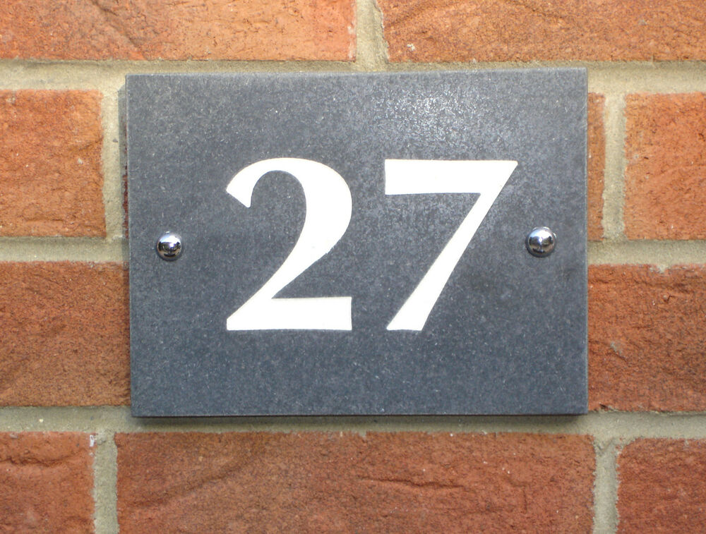 House Number Plaques Slate: House Sign, Slate Grey Granite, House Number Plaque