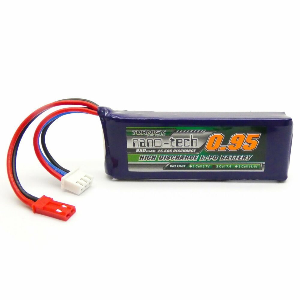 Turnigy Nano-Tech 950mAh 2S LiPo Battery Pack 25C 50C JST Connector Plug | eBay