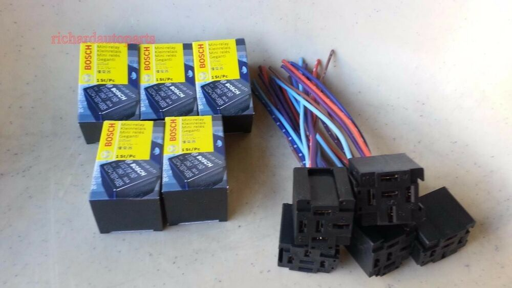 5 Set Bosch Relay 30a 12v With Socket 5 Pin