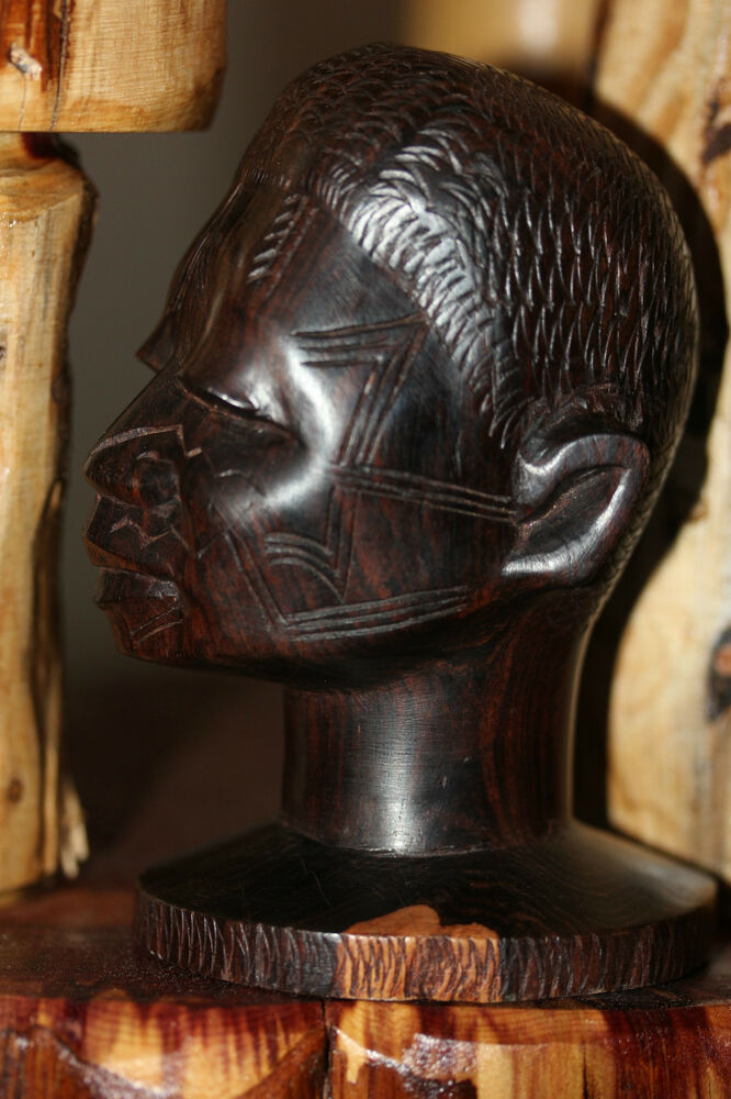 Hand carved wood sculpture african statue head beautiful