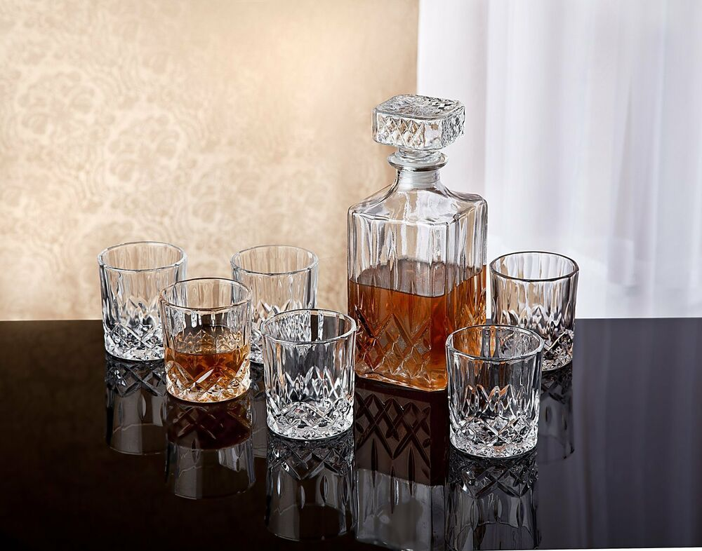 crystal whiskey bar set decanter glass bourbon scotch 6 dof glasses liquor 7 pcs ebay. Black Bedroom Furniture Sets. Home Design Ideas