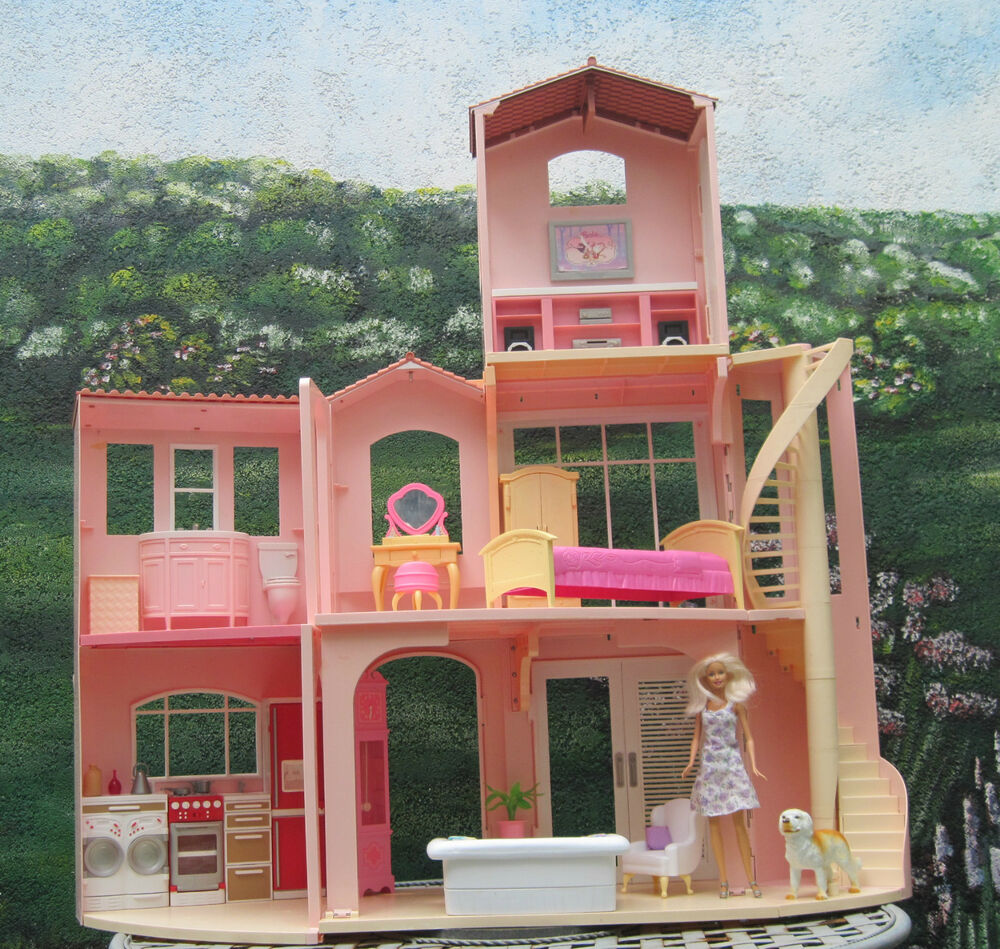 barbie haus stadt villa ebay. Black Bedroom Furniture Sets. Home Design Ideas