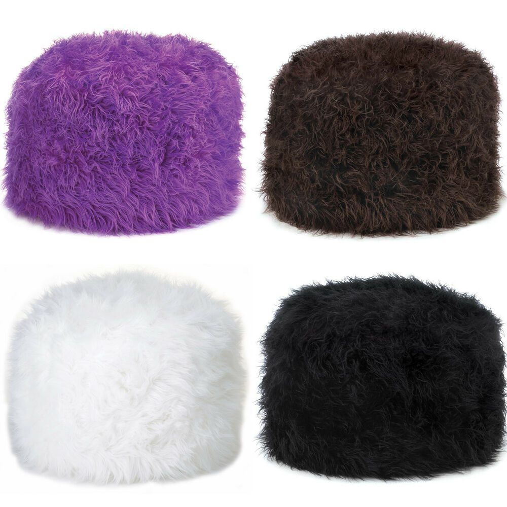 Soft Construction Fuzzy Ottoman Pouf Foot Stool Seat Ebay