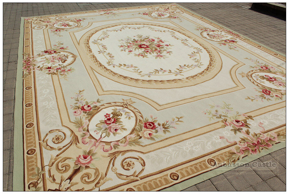 9 X12 Pastel Light Green Ivory Aubusson Area Rug French