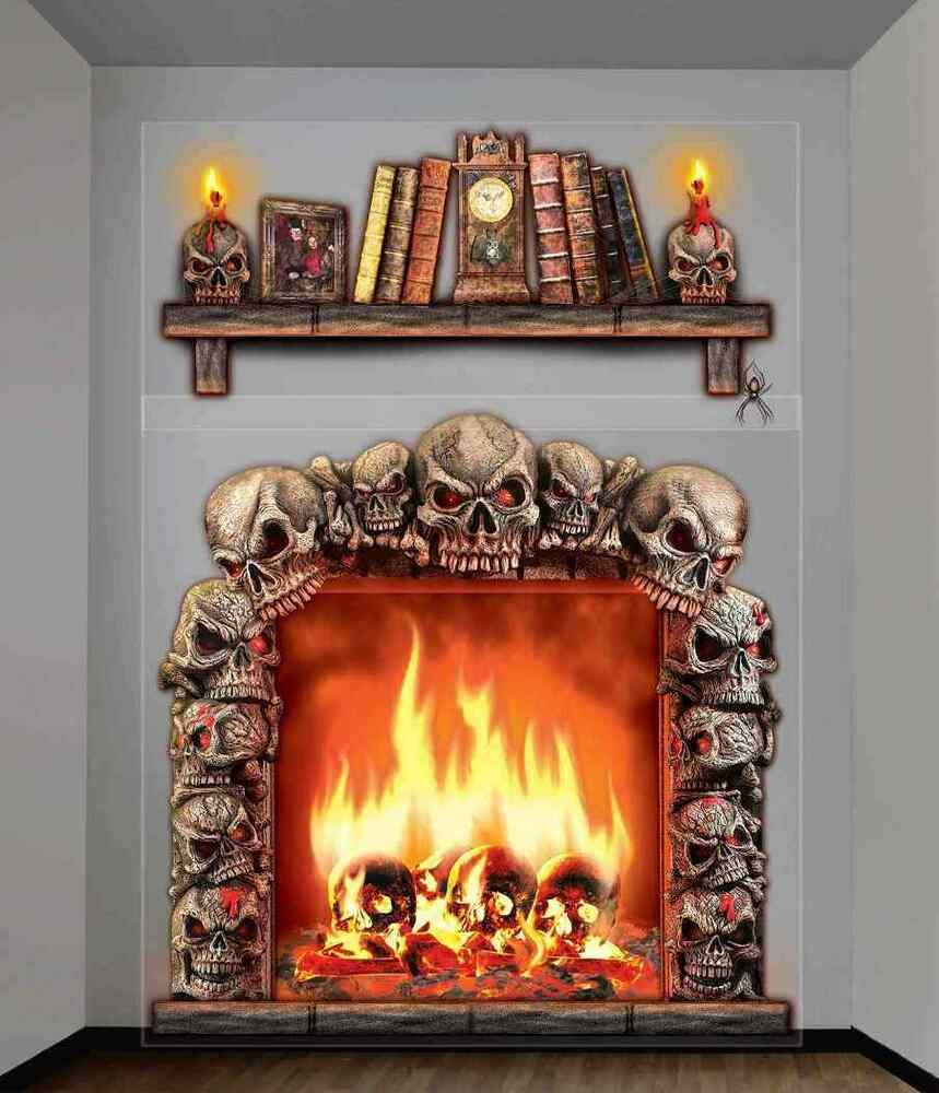 Skull Fireplace Skeleton Haunted House Halloween Party ...