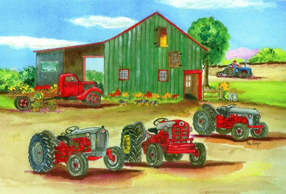 8n Ford Art : Grey ford tractor matted art print n naa farm
