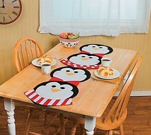 Black White Red Penguins Table Runner Placemats Dinning