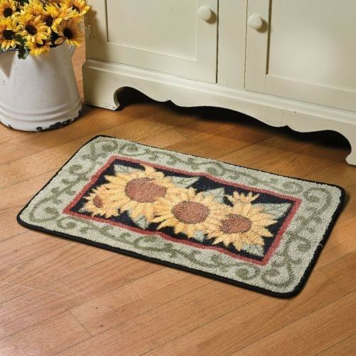 Country yellow sunflower hooked rug bright kitchen rug for Small rugs for kitchen